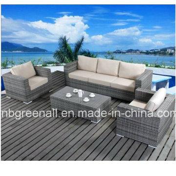 Ensemble de canapé en rotin en meuble en mousseline en mousse en aluminium pour jardin (9059)