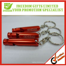 Promotional Laser Logo Cheap Metal Whistle Keychain