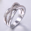 factory price 18K Gold finger ring white gold jewelry pave setting 925 silver ring design