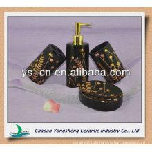 Luxus-Keramik schwarz und gold Bad Zubehör 4pcs