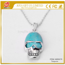 Natural Turquoise Gemstone Skull Pendant Necklace 04SN0170 with 60CM Silver Chain Semi Precious Stone Crystal Jewelry