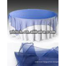 Elegant polyester table cloth and crystal organza overlay