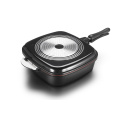 Black Aluminum Die-casting Square Double Grill Pan
