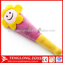 Hot venda flor sorriso rosto brinquedos macio plush massagem varas