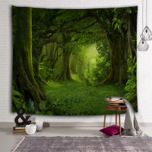 Tree Forest Tapestry Wall Hanging Tree Pole Trunk Nature Green Wall Tapestry Home Decor
