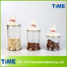 Ensemble de boîtes en verre 3PCS avec couvercle émaillé en coq en céramique