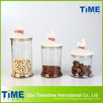 Conjunto de vasilhas de vidro 3PCS com galo cerâmico Gasketed Lids