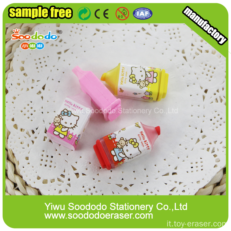 3D Novelty Highlighter Shaped Eraser For Kids