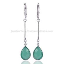Venta al por mayor Joyería Onyx verde piedras preciosas hecho a mano 925 pendientes de gota de plata de ley
