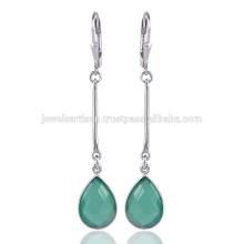 Wholesale Jewelry Green Onyx Gemstone Handmade 925 Sterling Silver Drop Earrings