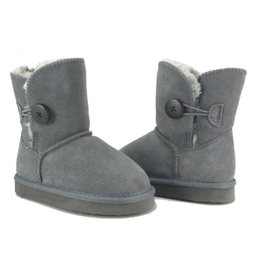 Girl kids grey suede boots for winter