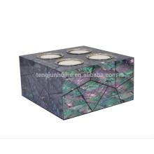 Titular de vela de mosaico de alta calidad con shell paua