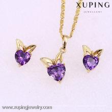 62061 xuping 2016 Herzform 14k Goldfarbe violetter Zirkon elegantes Schmuckset