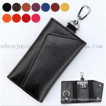 OEM Logo Multifunctional Soft Leather Key Bag with Hook