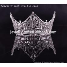 Partido rei cabelo acessórios cristal completo rodada tiaras coroa