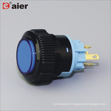 22mm High Button Lens Illuminated SPDT Momentary IP67 Black Color Plastic Push Button Switch