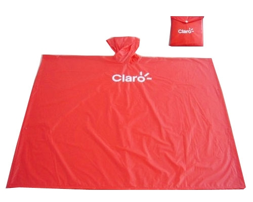 pvc rain poncho with material packing bag