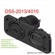 Zócalo del voltímetro de 5V y zócalo del USB de 2port