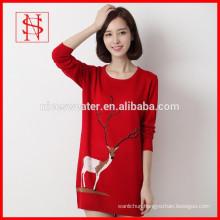 Christmas reindeer jumper dress long cotton knitted sweater with deer