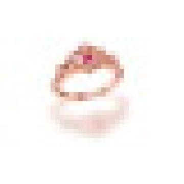 0.40CT Naturel Rose Tourmaline Julius Caesar Creux Couronne Anneaux 925 Sterling Argent pour Femmes Engagement Fine Jewelry