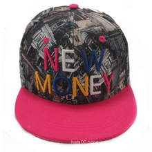 Cheap 6 Panel Printing Fabric Flat Bill Custom Cap