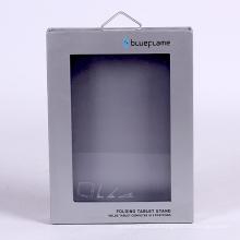 Maßgeschneiderte Tablet-Verpackung Geschenkbox mit Metallhaken und PVC-Fenster