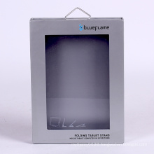 Customized tablet packaging gift box with metal hook and PVC window