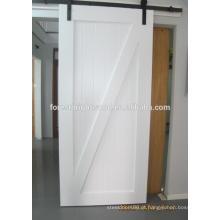 Porta de celeiro posição branco deslizante madeira interior