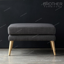 Muebles de sala de estar patas de madera tela taburete puf taburete otomana