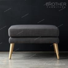 Tecido de pernas de madeira móveis de sala de estar pufe pufe fezes