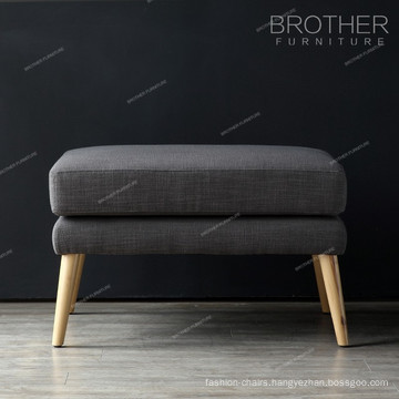 Living room furniture wooden legs fabric tufed pouf stool ottoman