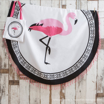100% cotton hot pattern flamingo Round Beach Towel RBT-176