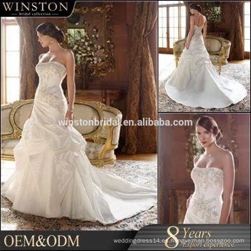 100% Real Photos Por encargo vestido de boda bordado cordón del cordón