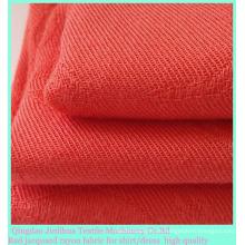 Rayón rojo Tejido de sarga de tejido jacquard para camisa