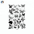 Etiqueta engomada temporal del tatuaje de la decoración negra de la mariposa