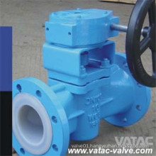 Lubricated/Sleeve Type Rptfe/NBR/Nr Lined Plug Valve with Gearbox
