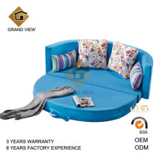 Blue Fabric Round Recliner Bedroom Set Steel Bed (GV-BS640)