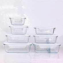 Food grade borosilicate glass meal box series with plastic sealed lids