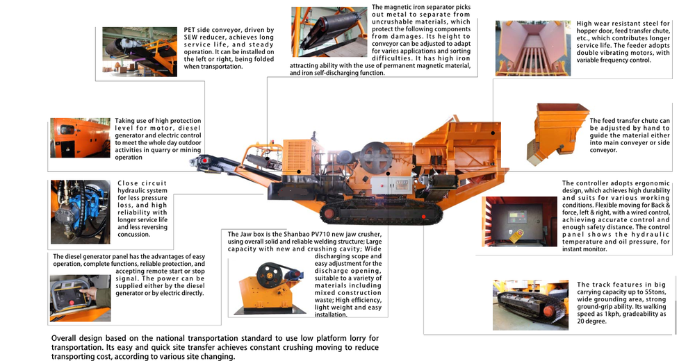 Details jaw crushing plant tracked