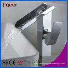 Fyeer High Body Brass Chromed Waterfall Sink Faucet (Q3028H)