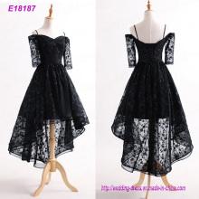 Elegante negro corto delantero largo vestido de noche trasero al por mayor