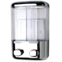 Dispensador de jabón de hotel de plástico elegante plata dos mano 500ml