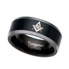 O maçónico do maçon do anel do carboneto de tungstênio dos homens - preto maçônico chapeado