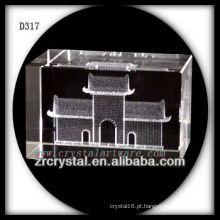 Quadrado de Tiananmen do laser de K9 3D dentro do retângulo de cristal