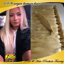 Barato cabelo virgem brasileiro 100 por cento de cabelo humano loiro em massa