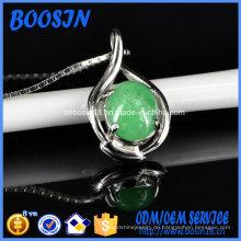Elegante chinesische Jade Wunsch Silber Tablett Anhänger Halskette