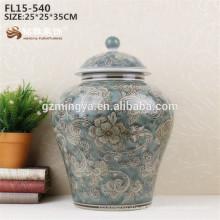 Vaso cerâmico Venda quente de cor azul porcelana flor design Vaso atacado para decoração de casa