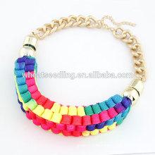 2014 Mode bunte Stoff Seil Halsketten