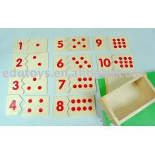 Montessori Lehrhilfe Nummer Puzzle
