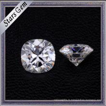 Gros pour toujours une forme de coussin diamant coupé pur blanc Moissanite pierres pour anneau